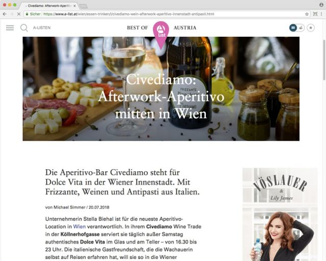 A-List: Afterwork-Aperitivo mitten in Wien © A-List.at